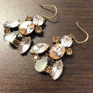 J.Crew Jewel Earrings with Brass Metal OS